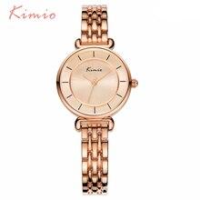 KIMIO Simples Duplo Pequeno Mostrador em Ouro Pulseira Relógios de Quartzo Relógio de Forma Das Mulheres 2017 Marca Ladies Watch Relógio de Pulso montre femme
