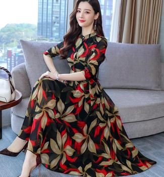 Bohemian Style Plus Size M-3XL  Elegant Stand Collar Flower Printed Three-quarter Sleeve High Quality   Chiffon Long Dress plus size textured long sleeve high low dress