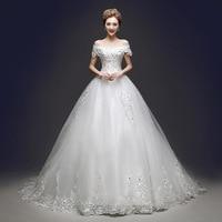 Wedding dress bride's long tail, shoulder mounted drill Korean style large size, slim wedding dress
