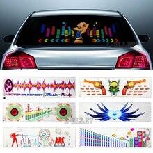 Голубой почвы BAY Multi-селективного красивый автомобиль девушки Стикеры ритм музыки светодиодный вспышка света звук эквалайзер лампа Танцы Рог 90*25 см