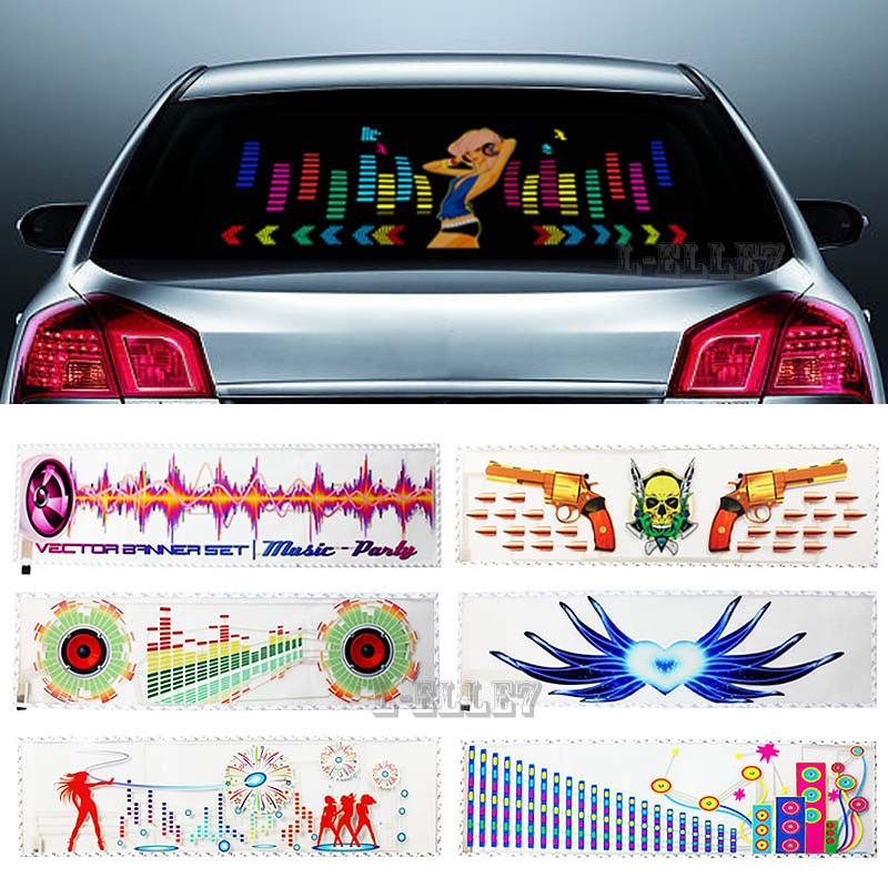 где купить Multi-selective Beautiful Girl Car Sticker Music Rhythm LED Flash Light Sound Equalizer Lamp Dancing Horn 90*25CM по лучшей цене
