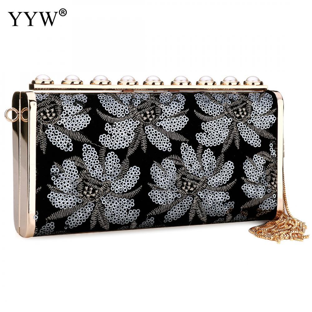 Pochette de soirée de luxe pour femme en cuir Pu sac à bandoulière élégant Floral pour femme sacs Messenger à longue chaîne sacs à main à bandoulière