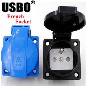 Image 2 - Supply Black Blue AU US UK EU German Frence Brazil Swiss universal industry AC power socket outdoor dustproof waterproof socket