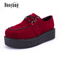 Creepers Shoes Woman Zapatos Mujer 2015 Hot Casual Vintage Plus Size Creepers Platform Shoes Women Flats