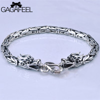 Wholesale Genuine 100 Real Pure 925 Sterling Silver Men Bracelet Dragon Head Men Jewelry Free Shipping