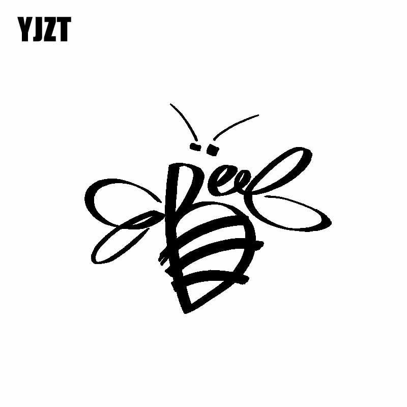 YJZT 14.5CM*12.3CM Delicate Beautiful Minimalist Bee Artistic Dazzling Vinyl Decal Car Sticker Black/Silver C19-1488