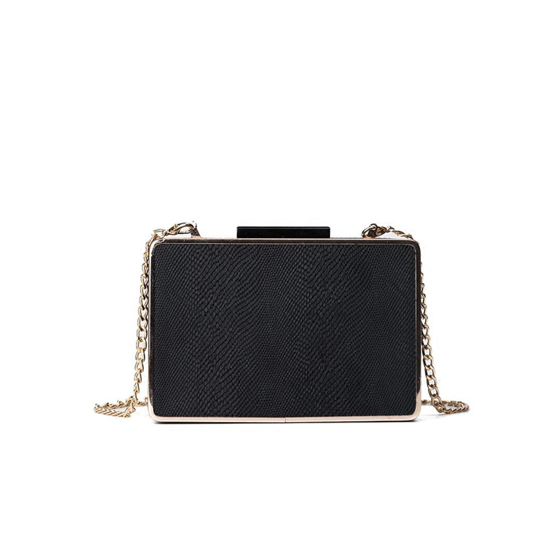 NEW classic black vintage Women Frame Bag Evening Wedding box Handbag For Girls Clutch Bag Ladies Chain Shoulder Handbags Purse fashion box evening bag oil painting flower black lock clutch bag strap mini tote bag ladies purse trunk white women handbags