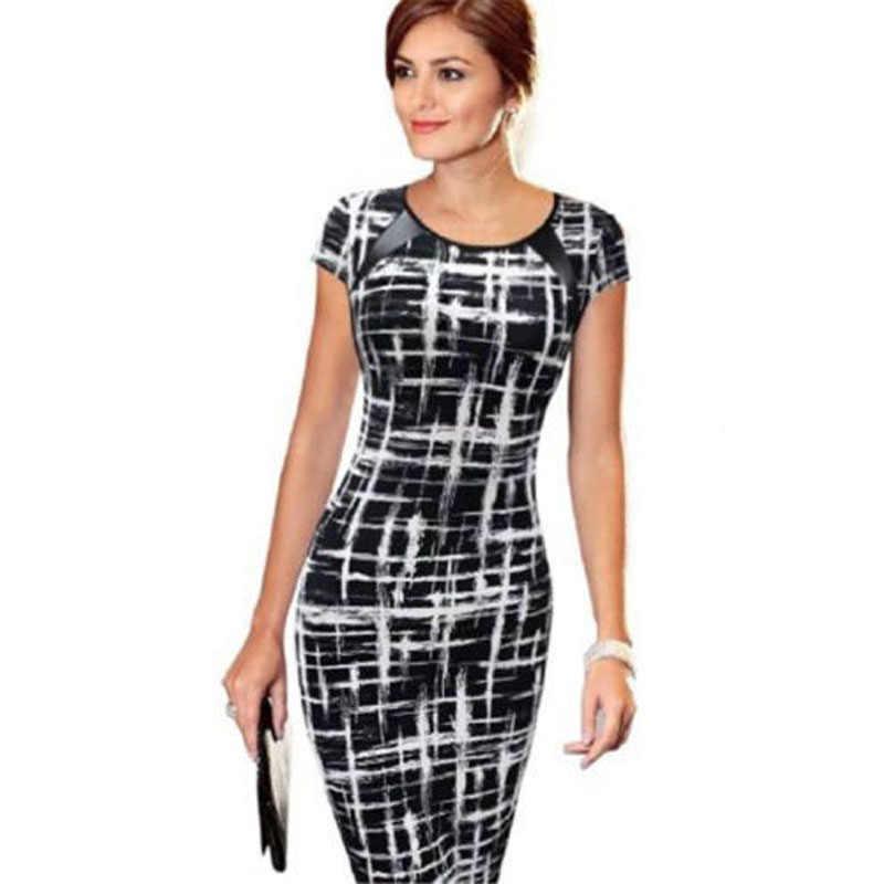 Eleganckie damskie sukienki Bodycon Office formalne do pracy płaszcz dwustronny tunika ołówek Midi O-neck krótkie rękawy sukienka