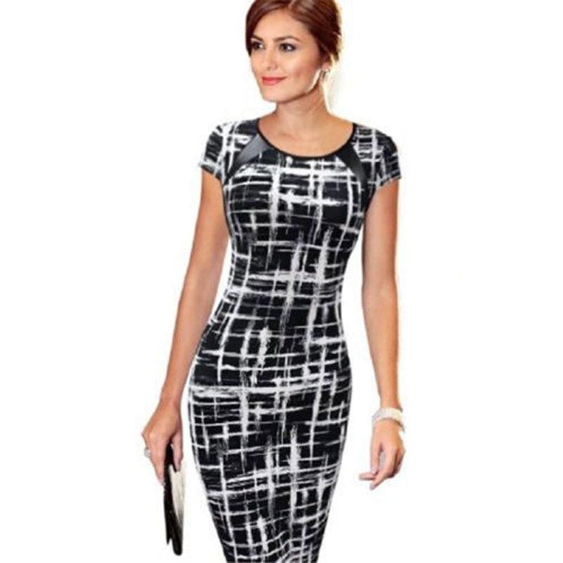 Elegant Women Dresses Bodycon Office Formal Business Work Party Sheath Tunic Pencil Midi O-neck Short Sleeves Dress