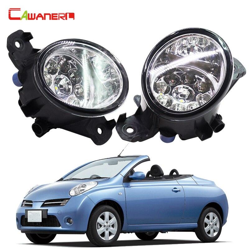 Cawanerl Car Styling LED Light Daytime Running Light Left + Right Fog Light For Nisssan Micra C+C (K12) Convertible 2005 2015