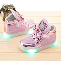 Los niños Zapatos Con Luz LED Iluminado Kids Sneakers Zapatos Childred Lumineuse LED Zapatillas Kid Niñas Gatito Zapatos Chaussure Enfant