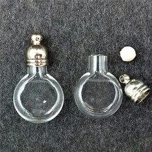 100 個 20 × 12 ミリメートル小型フラットボールガラス瓶ロケットネックレスペンダントチャーム名にライスボトル