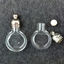 100pieces 20x12mm tiny flat ball glass Vial pendant glass bottle locket necklace pendant charms name on rice bottle