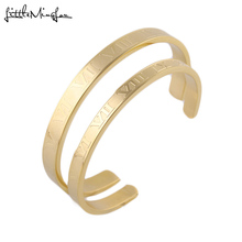 Luxury Gold Silver color couple men Lover Roman numerals Scale open Cuff Titanium stainless steel bangle for women jewelry