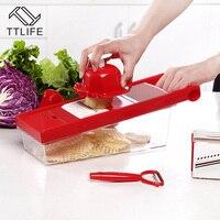 TTLIFE Multifunctional Vegetable Cutter Mandoline Slicer Box With 6 Stainless Steel Blade Slicer Potato Carrot Dicer