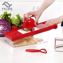 TTLIFE Multifunctional Vegetable Cutter Mandoline Slicer Box with 6 Stainless Steel Blade Slicer Potato Carrot Dicer Salad Maker