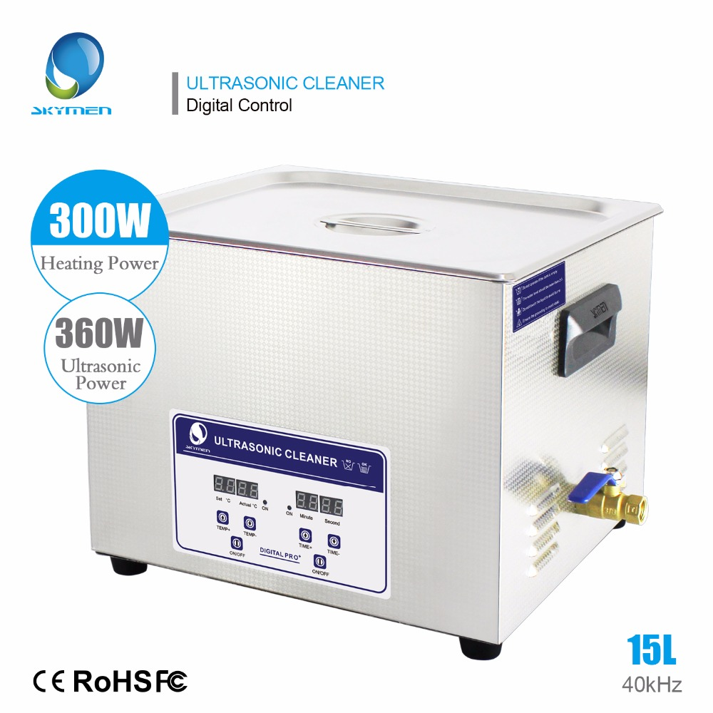 Skymen Digital 15L 360 W limpiador ultrasónico piezas industriales clínica Dental laboratorio herramientas equipo de limpieza baño con temporizador de calefacción