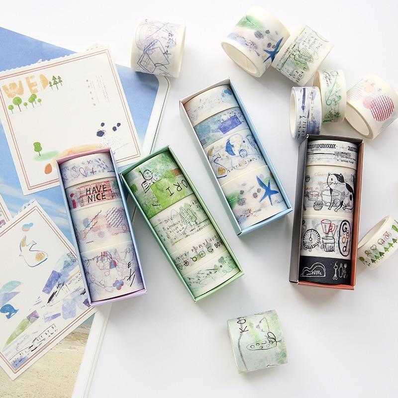 4pcs/lot Life Series Paper Tape Creative Pocket Book Tape Set Japanese Paper  Washi Tape Foil  Paper Scrapbook Paper Travel