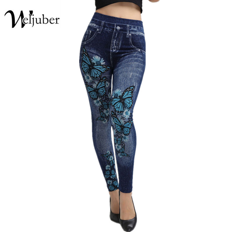 Weljuber Women Leggings Autumn Jeans Leggings Slim Mock Pocket Woman Print Jeggings Ladies Denim Skinny Trousers