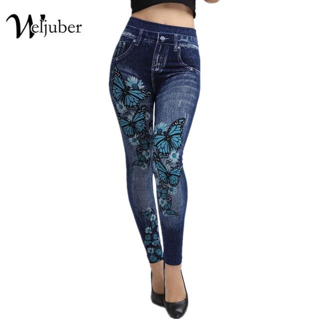 b35a316af10 Weljuber Women Leggings Autumn Jeans Leggings Slim Mock Pocket Woman Print Jeggings  Ladies Denim Skinny Trousers