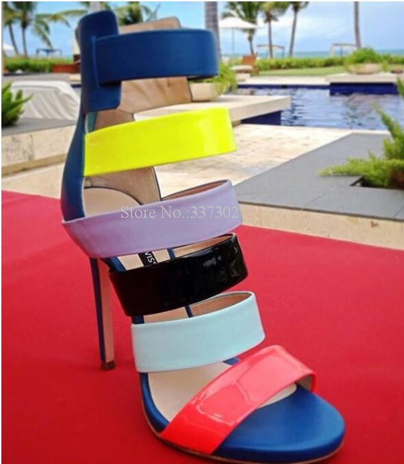 Candy Color Patent Leather Thin Heel Lady High Heel Sandals Sweet Colorful Peep Toe Girl Gladiator Dress Sandals Stiletto PumpsCandy Color Patent Leather Thin Heel Lady High Heel Sandals Sweet Colorful Peep Toe Girl Gladiator Dress Sandals Stiletto Pumps