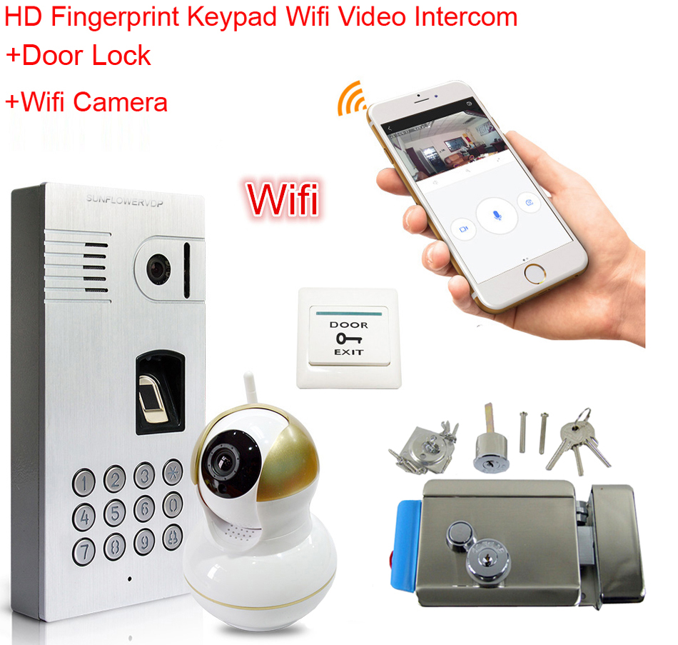 Wifi Video Intercom Fingerprint Code Keypad Wireless Network Video Door Phone Waterproof IP66 Doorbell for Android IOS+Door Lock открытые системы журнал publish 04 2014