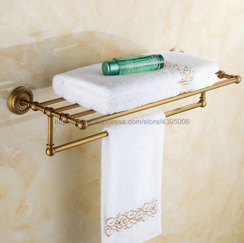 Double Antique Brass Wall Mounted Bathroom Towel Rail Holder Shelf Storage Rack Bar Bathroom Accessories Bba087Double Antique Brass Wall Mounted Bathroom Towel Rail Holder Shelf Storage Rack Bar Bathroom Accessories Bba087