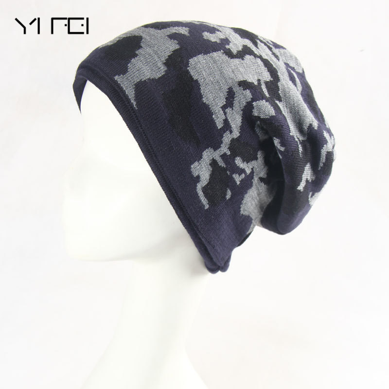 YIFEI Skullies Camouflage Knitted Hat Winter Warm Thick Casual Camo Cap Army Green Fashion Brand Beanies For Men skullies
