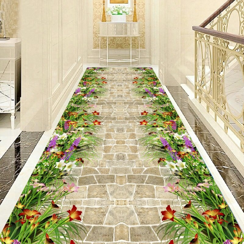 Long Corridor Carpet Decorative Floral Stair Carpet Home Entrance/Hallway Doormat Hotel Aisle Rug Living Room And Bedroom Rugs