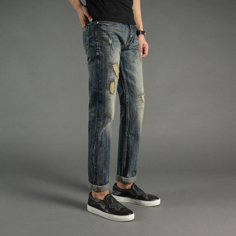 Retro Design Fashion Mens Jeans Pants Slim Fit Denim Ripped Jeans For Men DSEL Brand Frayed Hole Patckwork Biker Jeans Men italian style retro design mens jeans pants dark color straight slim fit denim frayed ripped jeans men dsel brand biker jeans