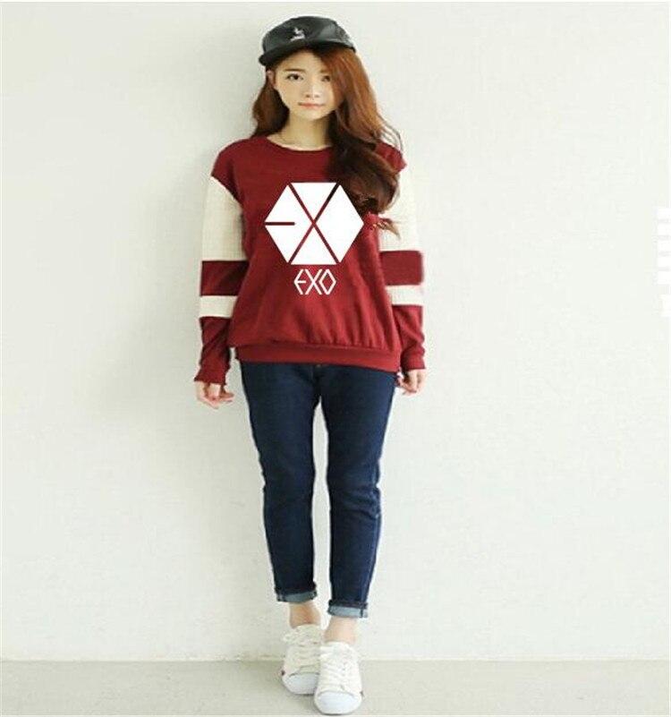 Kpop exo hoodie for women exo-K 2017 exo-M epilogue printed fans supportive o neck sweatshirt plus size tracksuits k-pop exo-L