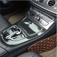 Carbon Fiber Style ABS Plastic Console Gear Panel Frame Trim For Mercedes Benz E Class W213 2016 2018 E43 AMG Car Accessories