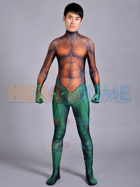 Custom Made Aquaman Suit Classic Aquaman Skin Cosplay Costume Superhero Costume 3d print Spandex jumpsuit