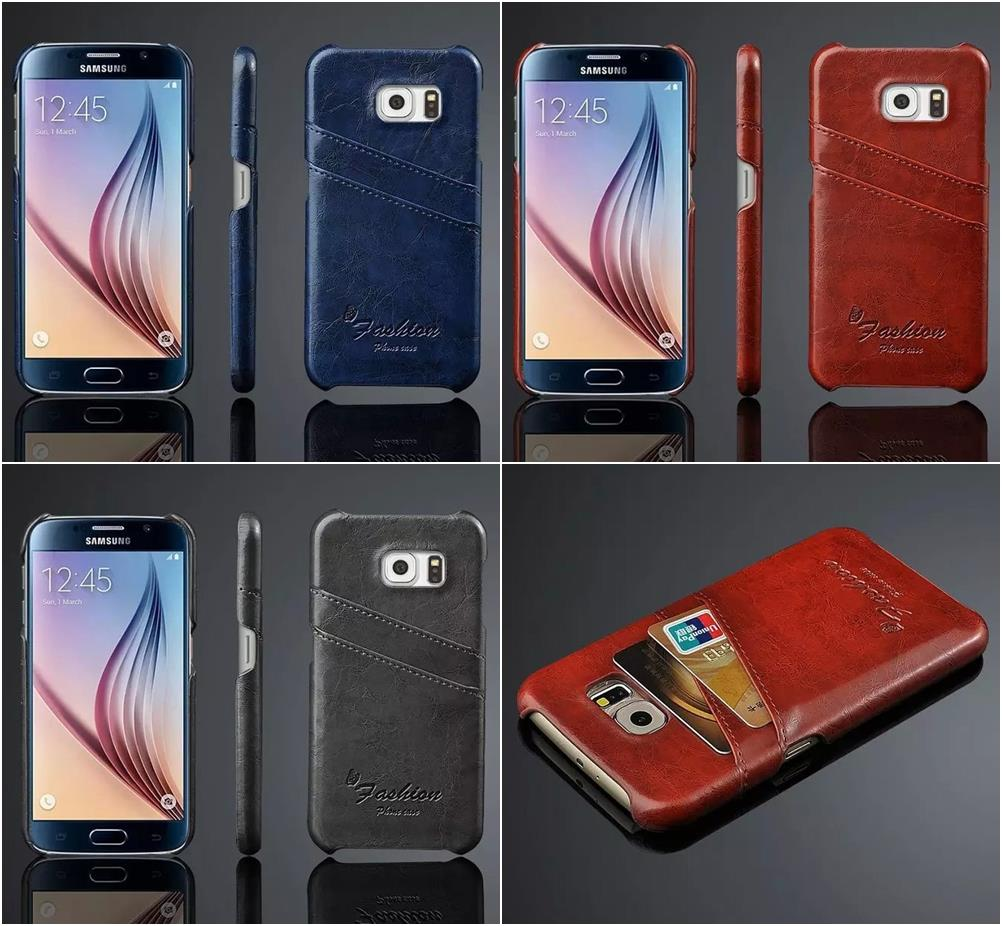 S6 Vintage Luxury Grease Glazed Leather Case For Samsung Galaxy S6 Ultra Thin Card Slot Pocket Wallet Back Cover Bag
