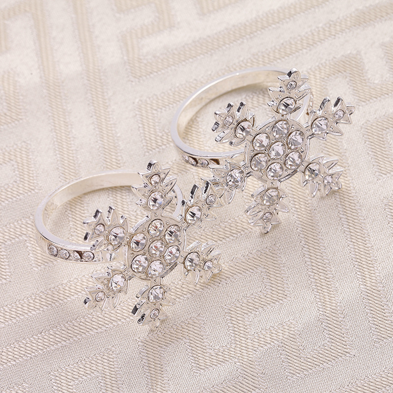 6PCS Western-style simple metal snowflake Napkin ring fabric buckle