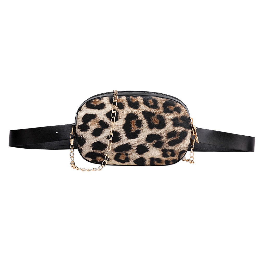 Snake Pattern Chain Shoulder Waist Bags Fanny Belt Packs Phone Pouch Women PU Leather Crossbody Casual Messenger Chest Bags
