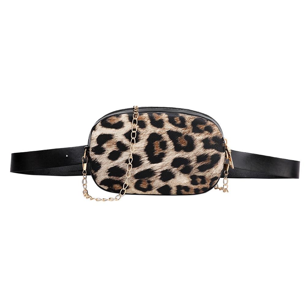Snake Pattern Chain Shoulder Waist Bags Fanny Belt Packs Phone Pouch Women PU Leather Crossbody Casual Messenger Chest Bags
