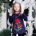 Otoño e invierno new girls moda de manga larga jersey de cuello redondo suéter bordado suéter 2-8 años