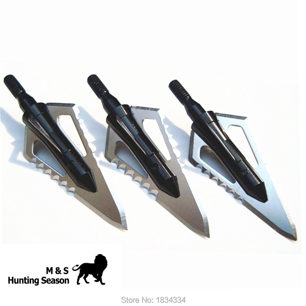 Hunting Arrowheads 100 Korn 3 Blader Broadheads Sawtooth Knife For Jakt Og Bueskyting Bue 3/6 / 12Pcs