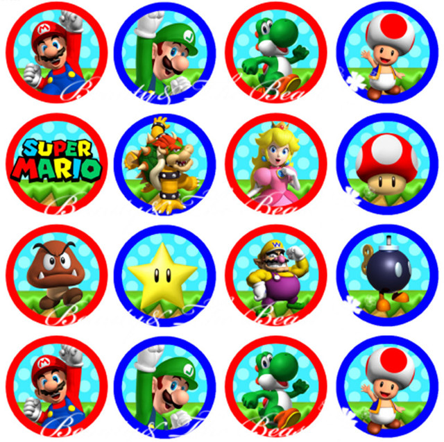 Super Mario Bros Stickers Cupcake Toppers Birthday Party