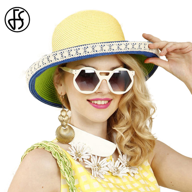 7d4c86271a0 FS 2017 Elegant Summer Yellow And Green Patchwork Large Brim Straw Beach Hat  For Women Floppy
