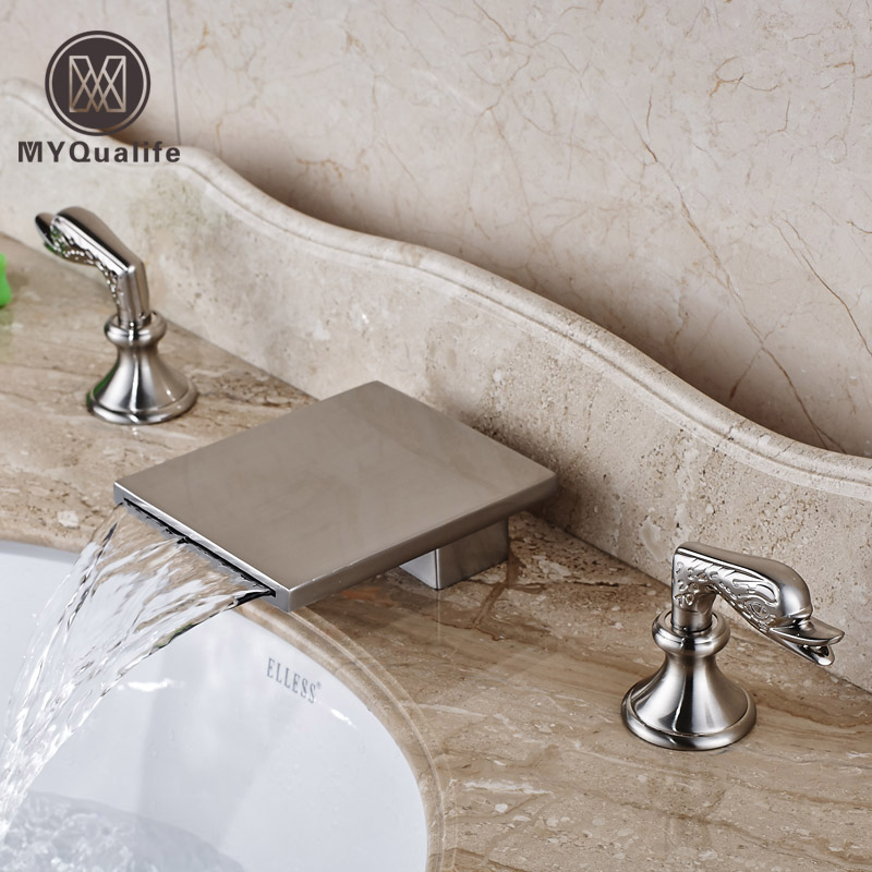 Deck Mounted Waterfall Bathroom Faucet Tap Dual Handles Brushed Nickel Bath Spout Mixer Faucet new arrive dual square handles waterfall spout bathroom sink basin faucet brushed nickel deck mount