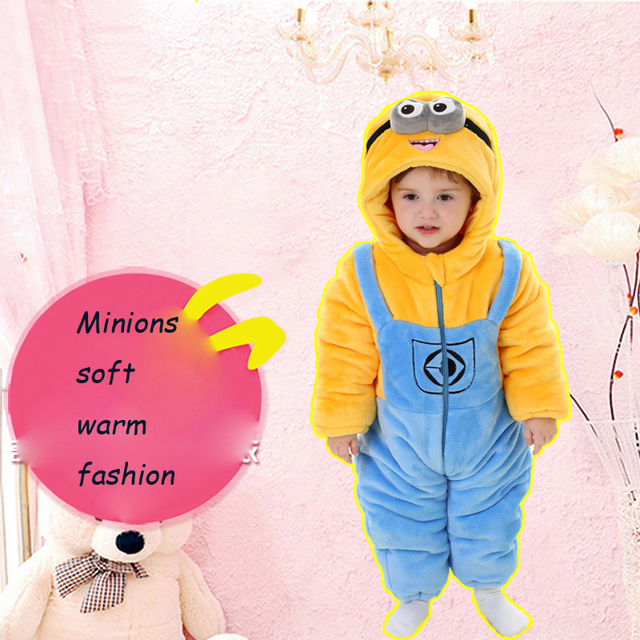 Minions Winter Overalls For The Boys Baby Girls Thick Rompers Full
