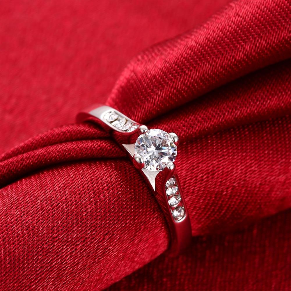 Bohemia Simple Ring Alianca Casamento Quality Jewelry Women Rhinestone Wedding Rings White Gold Anillos Bijouterie Akr019