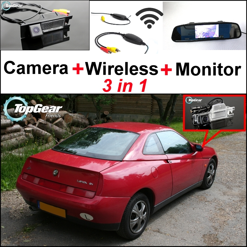 3 in1 Special WiFi Camera + Wireless Receiver + Mirror Monitor Backup Parking System For Alfa Romeo GTV / Spider AR 1993~2006 wireless pager system 433 92mhz wireless restaurant table buzzer with monitor and watch receiver 3 display 42 call button
