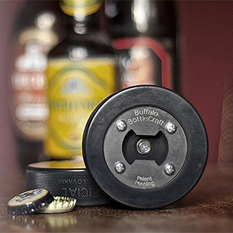 Portable Hockey Puck Bottle Opener Round Blank Shaper Wood Gadgets Multifunctional Beer Bottle Opener Outdoor Tool