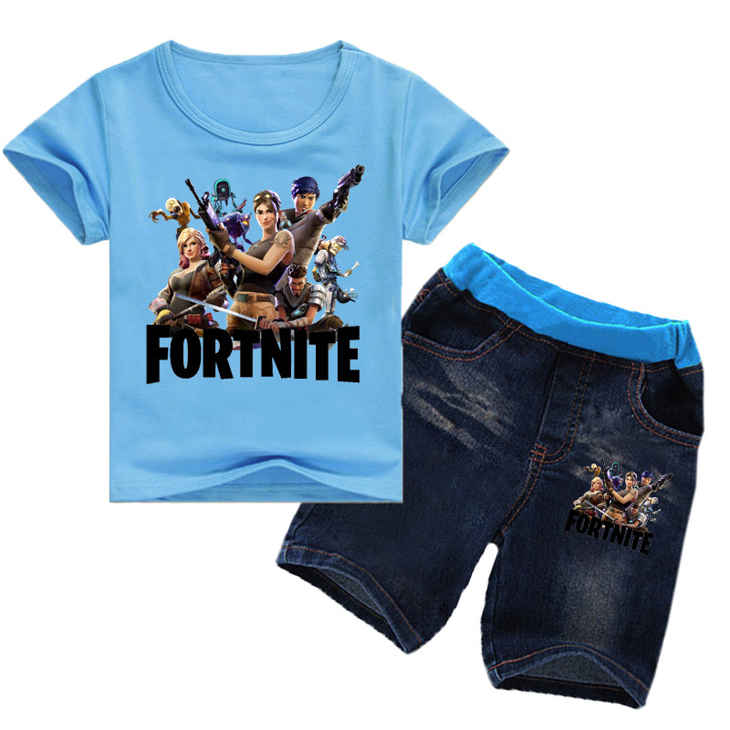 Z&Y 2-14Years Bobo Choses 2018 Casual Children Clothing Fortnite Enfant Toddler Girls Summer Clothing Set Shirt Jeans Short 2pcs