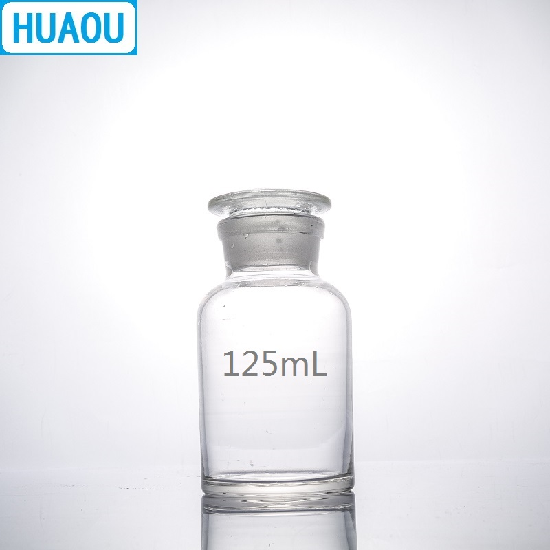 HUAOU 125mL Wide Mouth Reagent Bottle Transparent Clear Glass With Ground In Glass Stopper Laboratory Chemistry Equipment