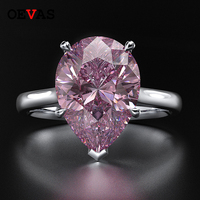 Elegant S925 silver Big Water drop Zircon Party jewelry Top quality AAAAA+ CZ Pink Blue White Red Yellow Birth stone Rings 5 12