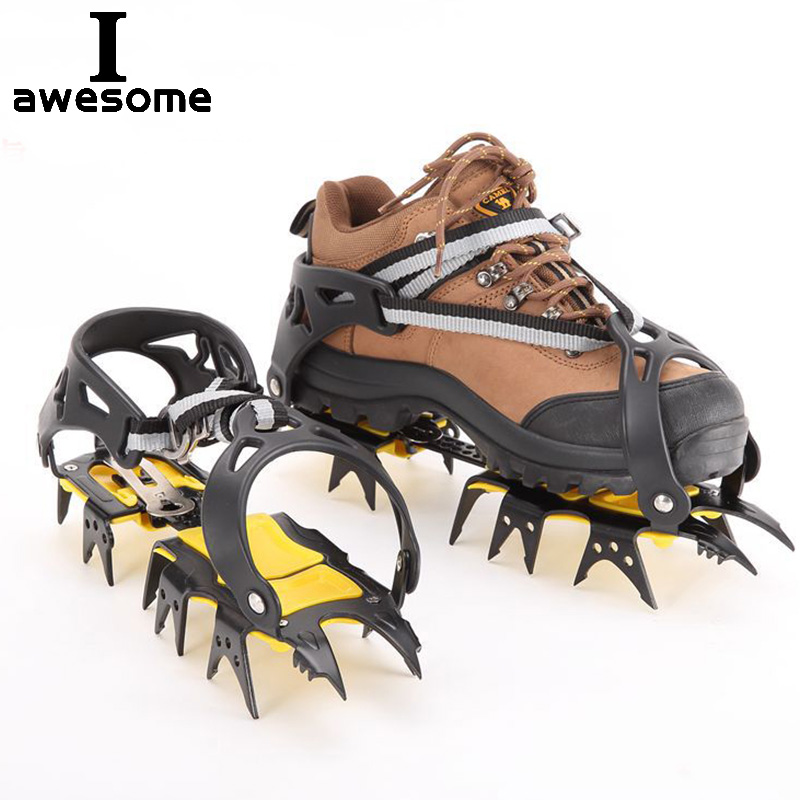 18 Teeth Steel Ice Gripper Spike For Shoes Anti Slip Hiking Climbing Snow Spikes Crampons Cleats Claws Grips Outdoor Boots Cover